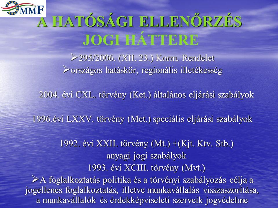 A HATÓSÁGI ELLENŐRZÉS A HATÓSÁGI ELLENŐRZÉS JOGI HÁTTERE  295/2006.