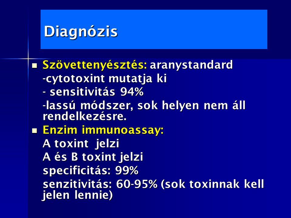 Diagnózis Szövettenyésztés: aranystandard Szövettenyésztés: aranystandard -cytotoxint mutatja ki - sensitivitás 94% -lassú módszer, sok helyen nem áll rendelkezésre.