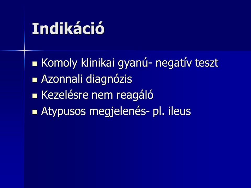 Indikáció Komoly klinikai gyanú- negatív teszt Komoly klinikai gyanú- negatív teszt Azonnali diagnózis Azonnali diagnózis Kezelésre nem reagáló Kezelésre nem reagáló Atypusos megjelenés- pl.