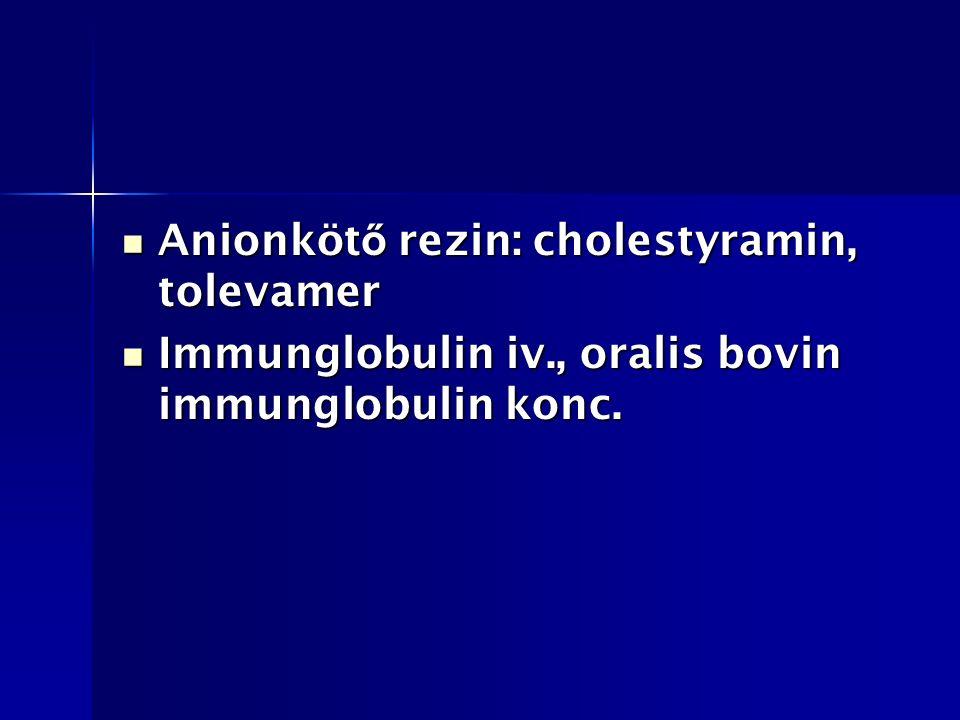 Anionköt ő rezin: cholestyramin, tolevamer Anionköt ő rezin: cholestyramin, tolevamer Immunglobulin iv., oralis bovin immunglobulin konc.