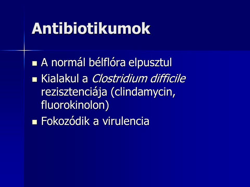 Antibiotikumok A normál bélflóra elpusztul A normál bélflóra elpusztul Kialakul a Clostridium difficile rezisztenciája (clindamycin, fluorokinolon) Kialakul a Clostridium difficile rezisztenciája (clindamycin, fluorokinolon) Fokozódik a virulencia Fokozódik a virulencia