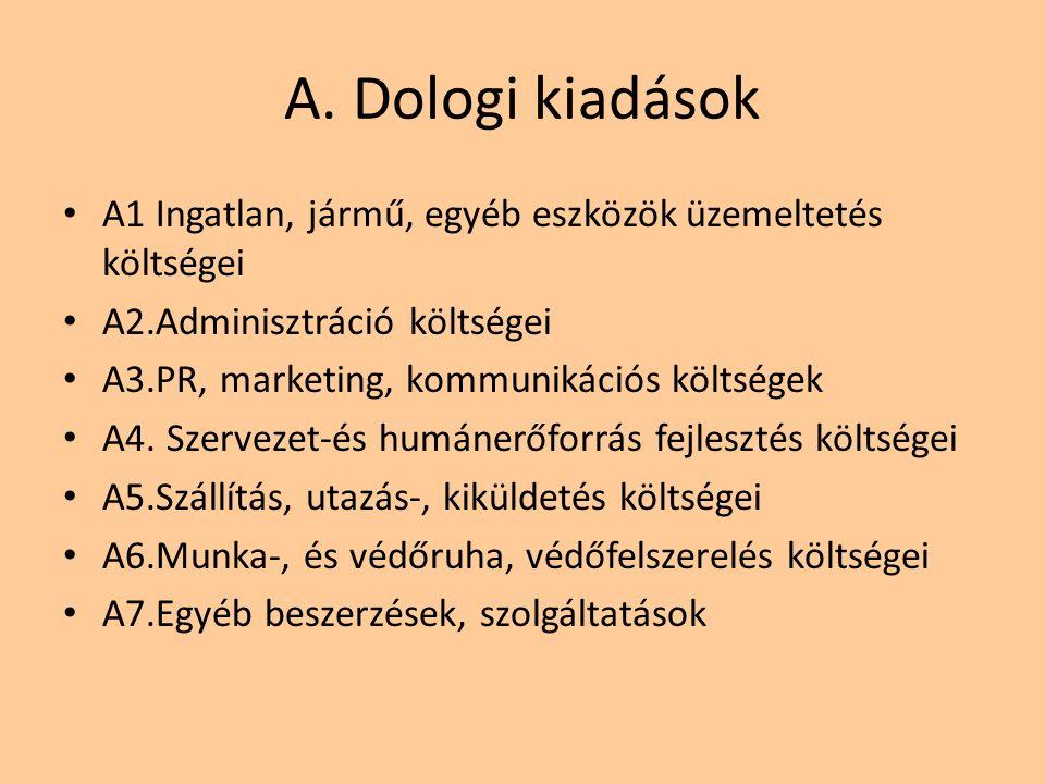 A. Dologi kiadások A1 Ingatlan, jármű, egyéb eszközök üzemeltetés költségei A2.Adminisztráció költségei A3.PR, marketing, kommunikációs költségek A4.