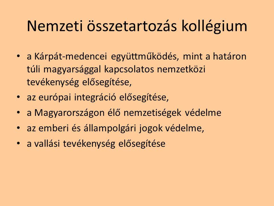 Nemzeti összetartozás kollégium a Kárpát-medencei együttműködés, mint a határon túli magyarsággal kapcsolatos nemzetközi tevékenység elősegítése, az e