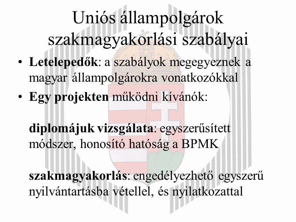 Uniós állampolgárok szakmagyakorlási szabályai Letelepedők: a szabályok megegyeznek a magyar állampolgárokra vonatkozókkal Egy projekten működni kívánók: diplomájuk vizsgálata: egyszerűsített módszer, honosító hatóság a BPMK szakmagyakorlás: engedélyezhető egyszerű nyilvántartásba vétellel, és nyilatkozattal