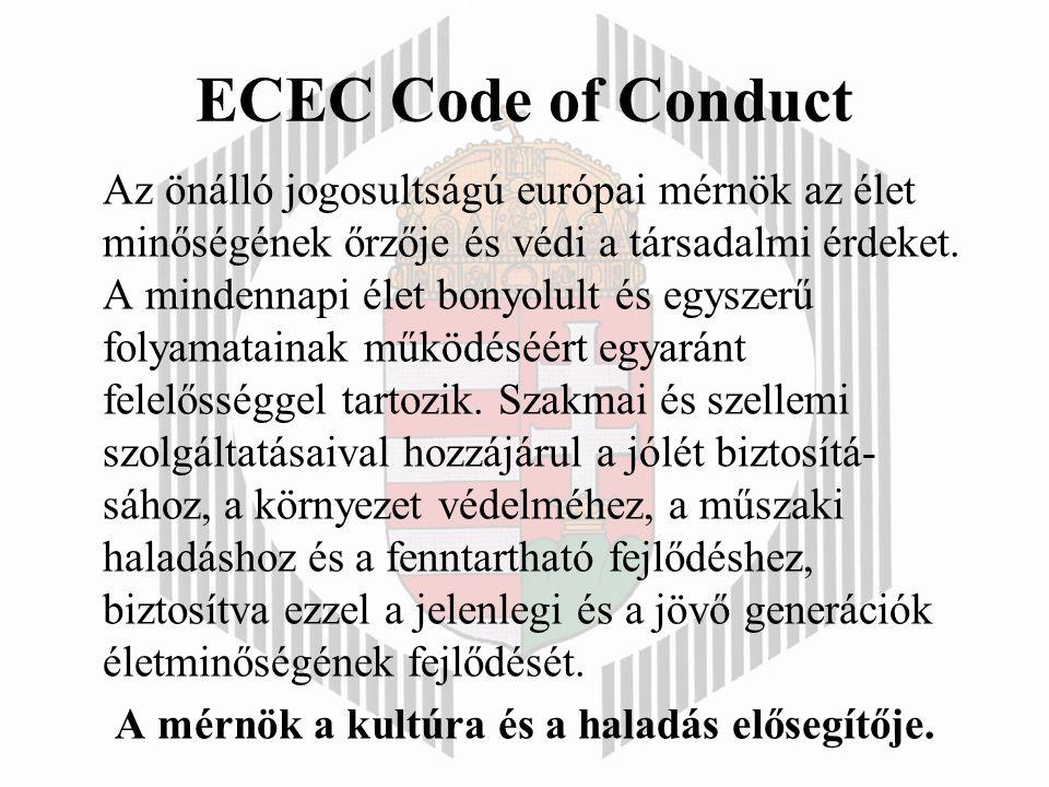 ECEC Code of Conduct Az önálló jogosultságú európai mérnök az élet minőségének őrzője és védi a társadalmi érdeket.