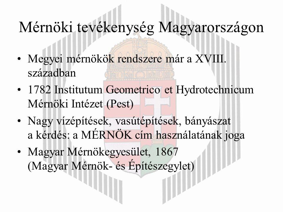 Mérnöki tevékenység Magyarországon Megyei mérnökök rendszere már a XVIII.