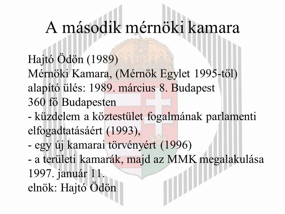 A második mérnöki kamara Hajtó Ödön (1989) Mérnöki Kamara, (Mérnök Egylet 1995-től) alapító ülés: 1989.