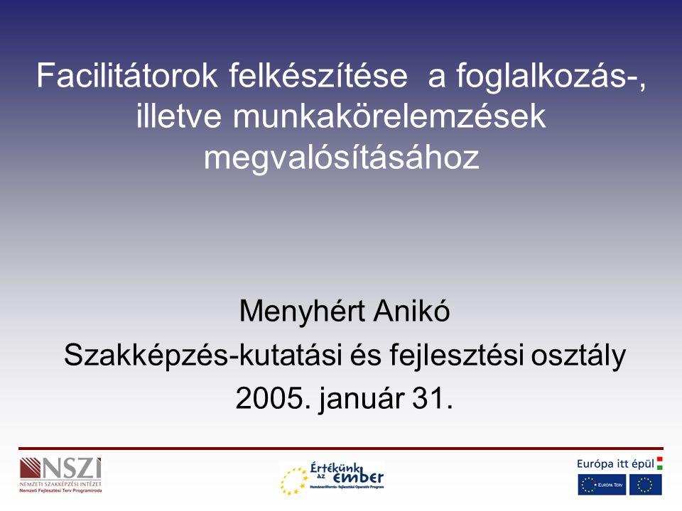 Facilitátorok felkészítése a foglalkozás-, illetve munkakörelemzések megvalósításához Menyhért Anikó Szakképzés-kutatási és fejlesztési osztály 2005.