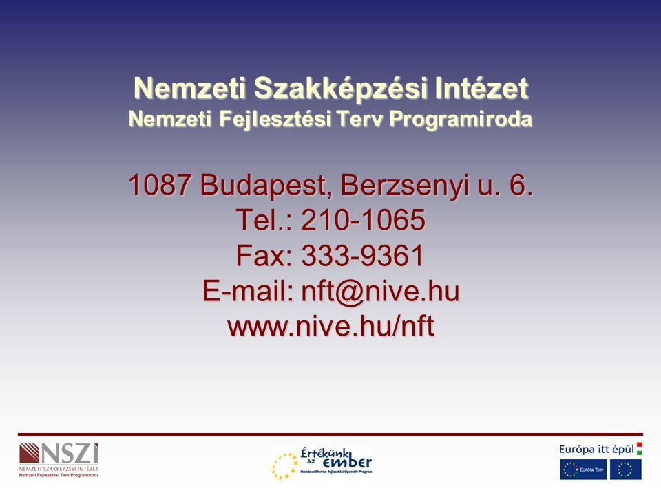 Nemzeti Szakképzési Intézet Nemzeti Fejlesztési Terv Programiroda 1087 Budapest, Berzsenyi u. 6. Tel.: 210-1065 Fax: 333-9361 E-mail: nft@nive.hu www.