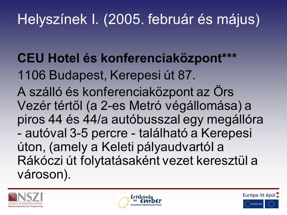 Helyszínek I. (2005. február és május) CEU Hotel és konferenciaközpont*** 1106 Budapest, Kerepesi út 87. A szálló és konferenciaközpont az Örs Vezér t