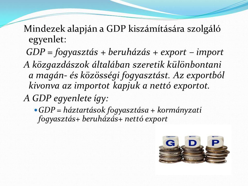 Mindezek alapján a GDP kiszámítására szolgáló egyenlet: GDP = fogyasztás + beruházás + export – import A közgazdászok általában szeretik különbontani a magán- és közösségi fogyasztást.