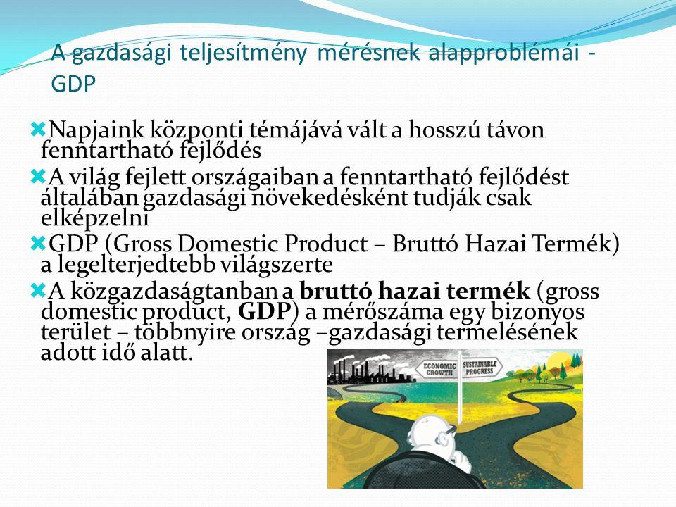 A gazdasági teljesítmény mérésnek alapproblémái - GDP  Napjaink központi témájává vált a hosszú távon fenntartható fejlődés  A világ fejlett országaiban a fenntartható fejlődést általában gazdasági növekedésként tudják csak elképzelni  GDP (Gross Domestic Product – Bruttó Hazai Termék) a legelterjedtebb világszerte  A közgazdaságtanban a bruttó hazai termék (gross domestic product, GDP) a mérőszáma egy bizonyos terület – többnyire ország –gazdasági termelésének adott idő alatt.