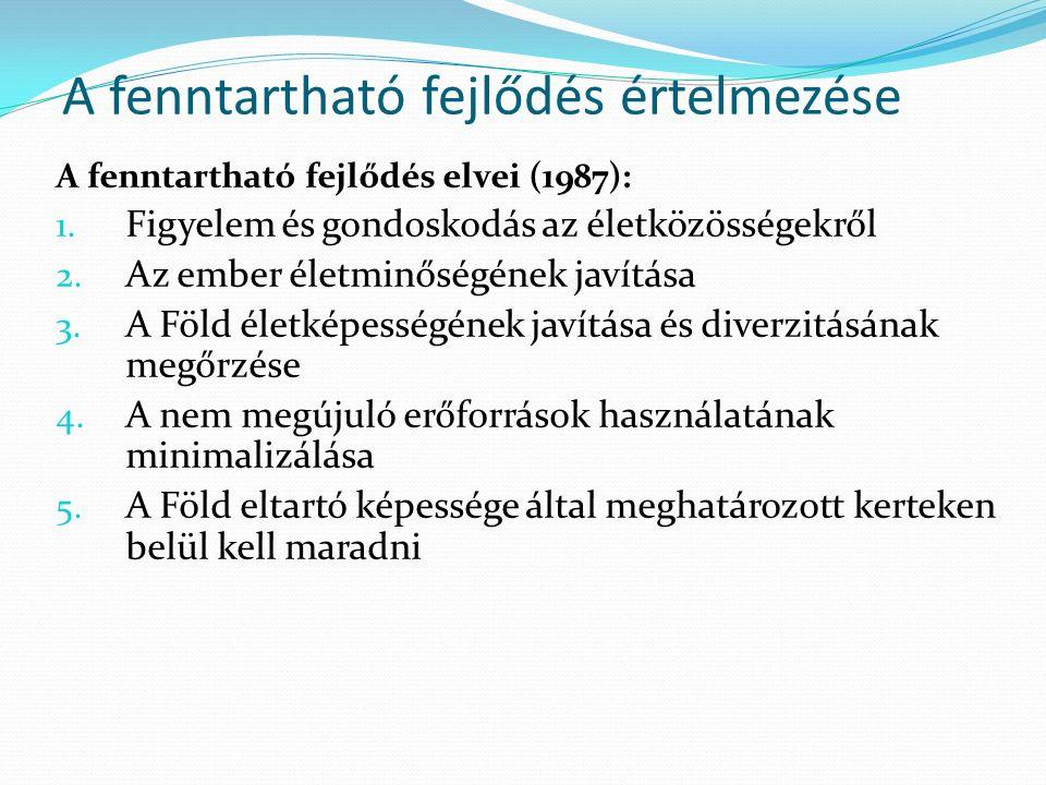 A fenntartható fejlődés értelmezése A fenntartható fejlődés elvei (1987): 1.