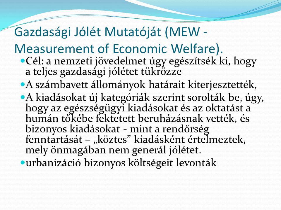 Gazdasági Jólét Mutatóját (MEW - Measurement of Economic Welfare).