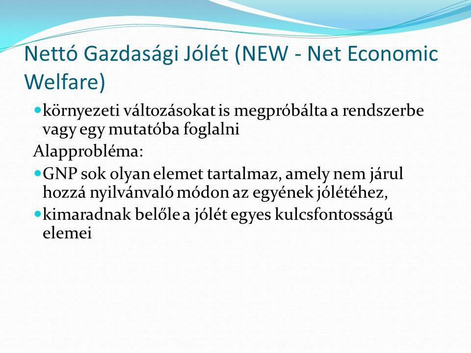 Nettó Gazdasági Jólét (NEW - Net Economic Welfare) környezeti változásokat is megpróbálta a rendszerbe vagy egy mutatóba foglalni Alapprobléma: GNP sok olyan elemet tartalmaz, amely nem járul hozzá nyilvánvaló módon az egyének jólétéhez, kimaradnak belőle a jólét egyes kulcsfontosságú elemei