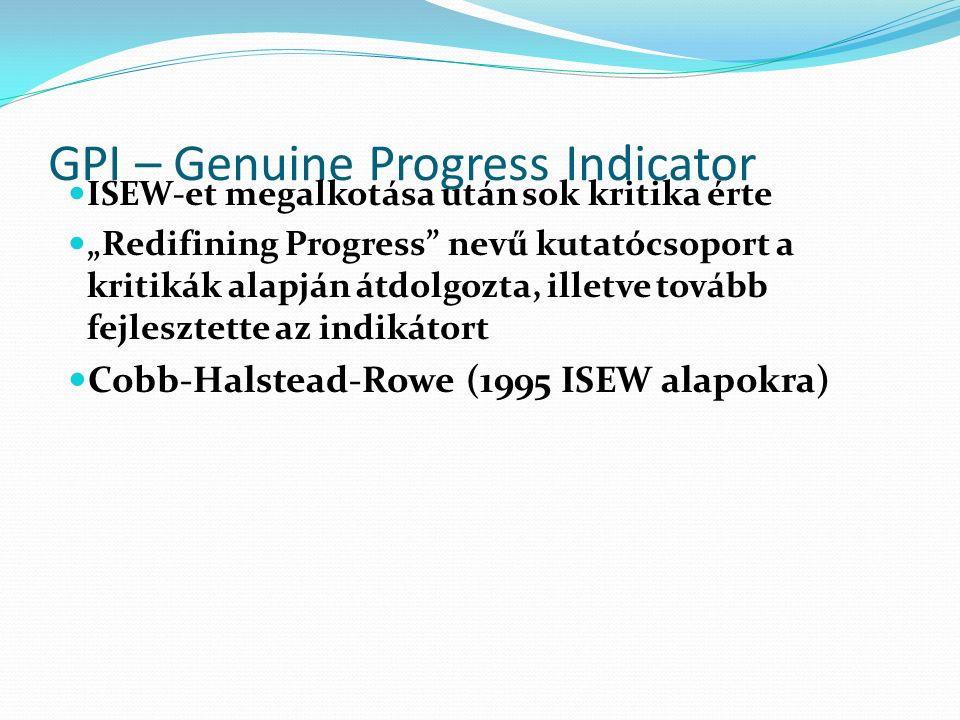 """GPI – Genuine Progress Indicator ISEW-et megalkotása után sok kritika érte """"Redifining Progress nevű kutatócsoport a kritikák alapján átdolgozta, illetve tovább fejlesztette az indikátort Cobb-Halstead-Rowe (1995 ISEW alapokra)"""