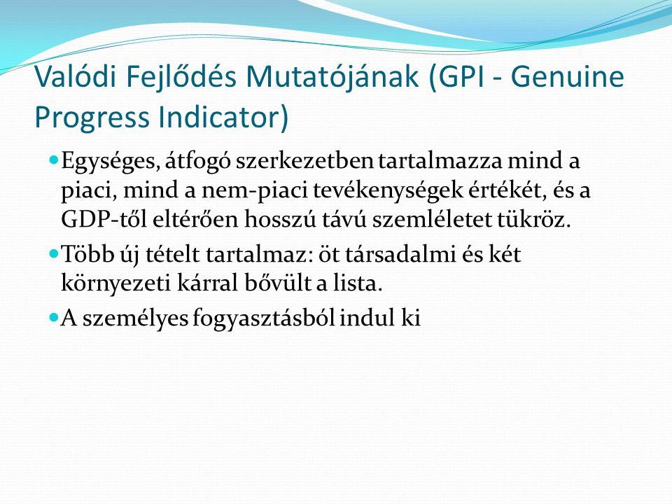 Valódi Fejlődés Mutatójának (GPI - Genuine Progress Indicator) Egységes, átfogó szerkezetben tartalmazza mind a piaci, mind a nem-piaci tevékenységek értékét, és a GDP-től eltérően hosszú távú szemléletet tükröz.