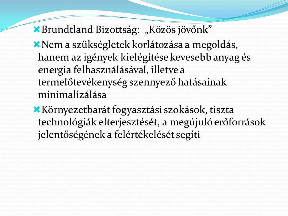 """ Brundtland Bizottság: """"Közös jövőnk  Nem a szükségletek korlátozása a megoldás, hanem az igények kielégítése kevesebb anyag és energia felhasználásával, illetve a termelőtevékenység szennyező hatásainak minimalizálása  Környezetbarát fogyasztási szokások, tiszta technológiák elterjesztését, a megújuló erőforrások jelentőségének a felértékelését segíti"""