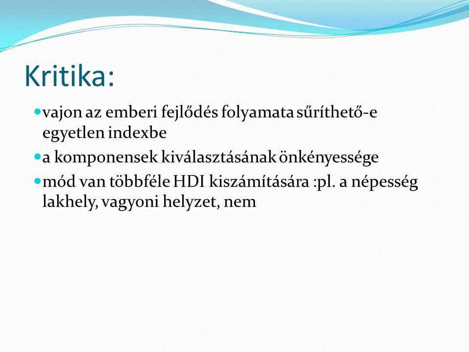 Kritika: vajon az emberi fejlődés folyamata sűríthető-e egyetlen indexbe a komponensek kiválasztásának önkényessége mód van többféle HDI kiszámítására :pl.