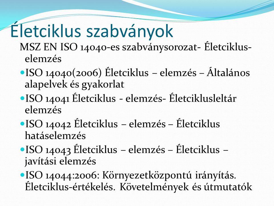 Életciklus szabványok MSZ EN ISO 14040-es szabványsorozat- Életciklus- elemzés ISO 14040(2006) Életciklus – elemzés – Általános alapelvek és gyakorlat ISO 14041 Életciklus - elemzés- Életciklusleltár elemzés ISO 14042 Életciklus – elemzés – Életciklus hatáselemzés ISO 14043 Életciklus – elemzés – Életciklus – javítási elemzés ISO 14044:2006: Környezetközpontú irányítás.