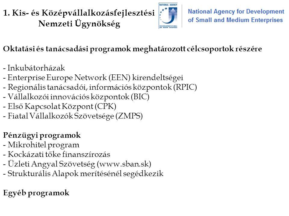 1. Kis- és Középvállalkozásfejlesztési Nemzeti Ügynökség Oktatási és tanácsadási programok meghatározott célcsoportok részére - Inkubátorházak - Enter