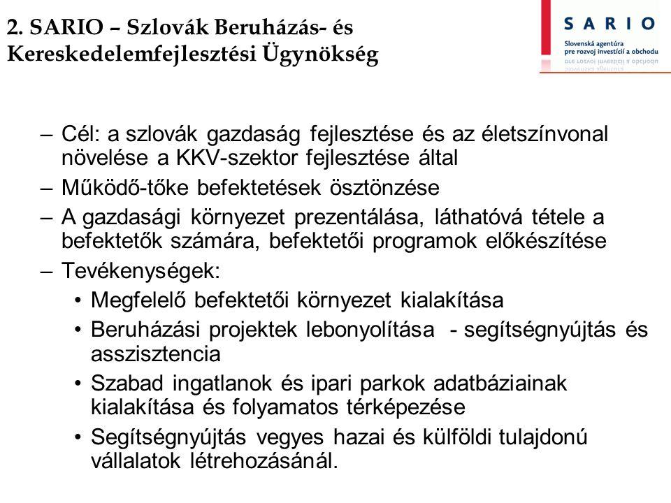 2. SARIO – Szlovák Beruházás- és Kereskedelemfejlesztési Ügynökség –Cél: a szlovák gazdaság fejlesztése és az életszínvonal növelése a KKV-szektor fej