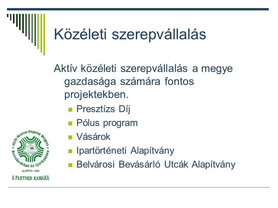 Közéleti szerepvállalás Aktív közéleti szerepvállalás a megye gazdasága számára fontos projektekben.