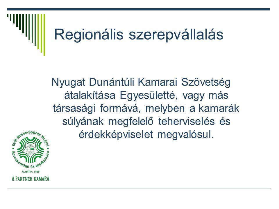 Regionális szerepvállalás Nyugat Dunántúli Kamarai Szövetség átalakítása Egyesületté, vagy más társasági formává, melyben a kamarák súlyának megfelelő teherviselés és érdekképviselet megvalósul.
