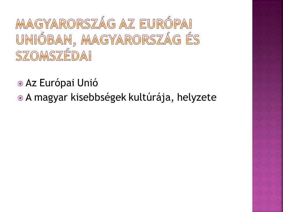  Az Európai Unió  A magyar kisebbségek kultúrája, helyzete