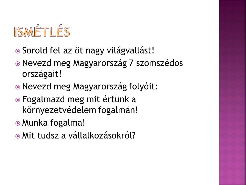  Sorold fel az öt nagy világvallást!  Nevezd meg Magyarország 7 szomszédos országait!  Nevezd meg Magyarország folyóit:  Fogalmazd meg mit értünk