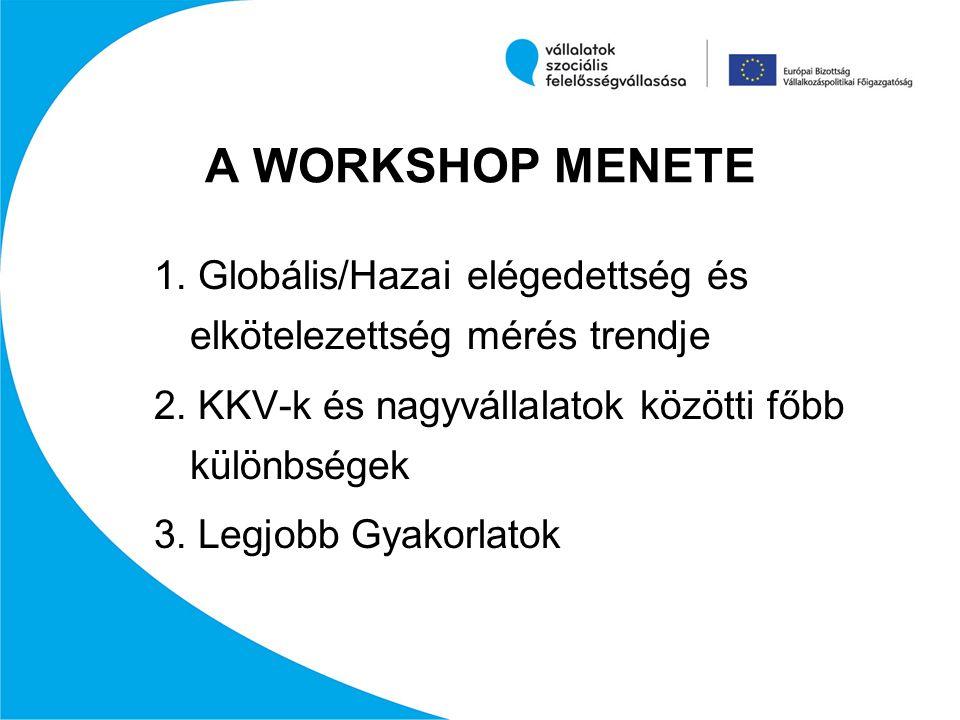 A WORKSHOP MENETE 1. Globális/Hazai elégedettség és elkötelezettség mérés trendje 2. KKV-k és nagyvállalatok közötti főbb különbségek 3. Legjobb Gyako