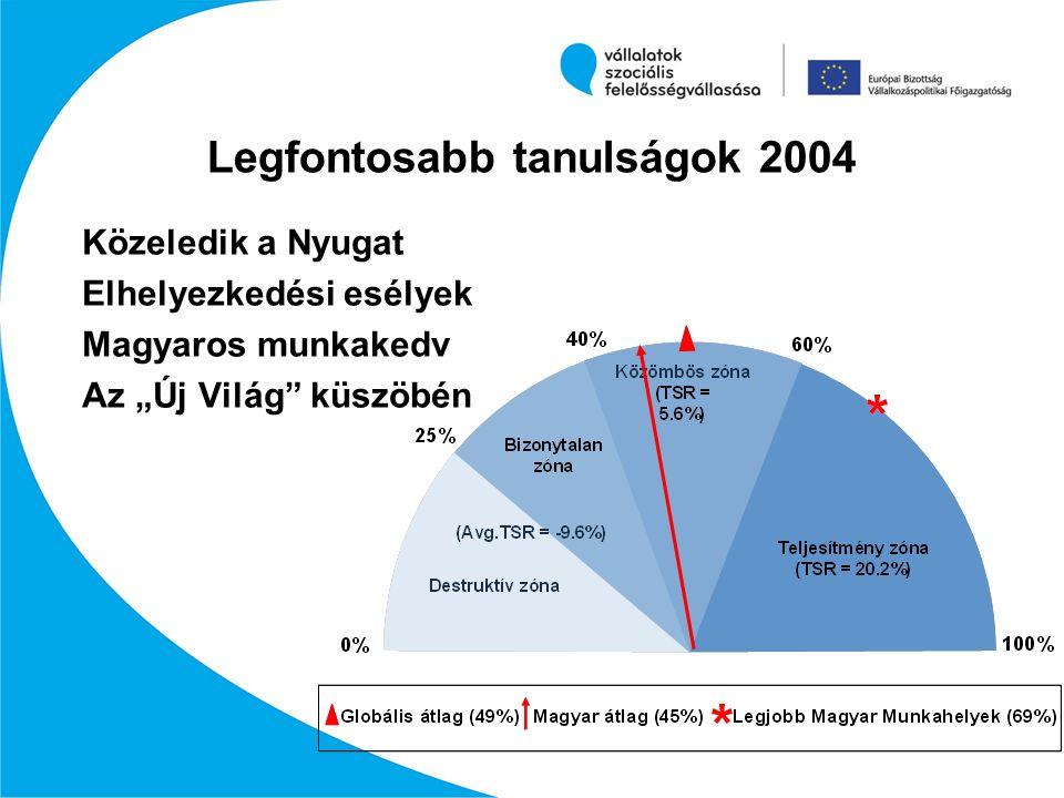 """Legfontosabb tanulságok 2004 Közeledik a Nyugat Elhelyezkedési esélyek Magyaros munkakedv Az """"Új Világ"""" küszöbén"""