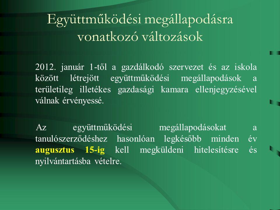 Együttműködési megállapodásra vonatkozó változások 2012.