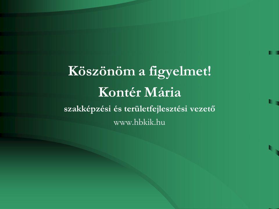 Köszönöm a figyelmet! Kontér Mária szakképzési és területfejlesztési vezető www.hbkik.hu