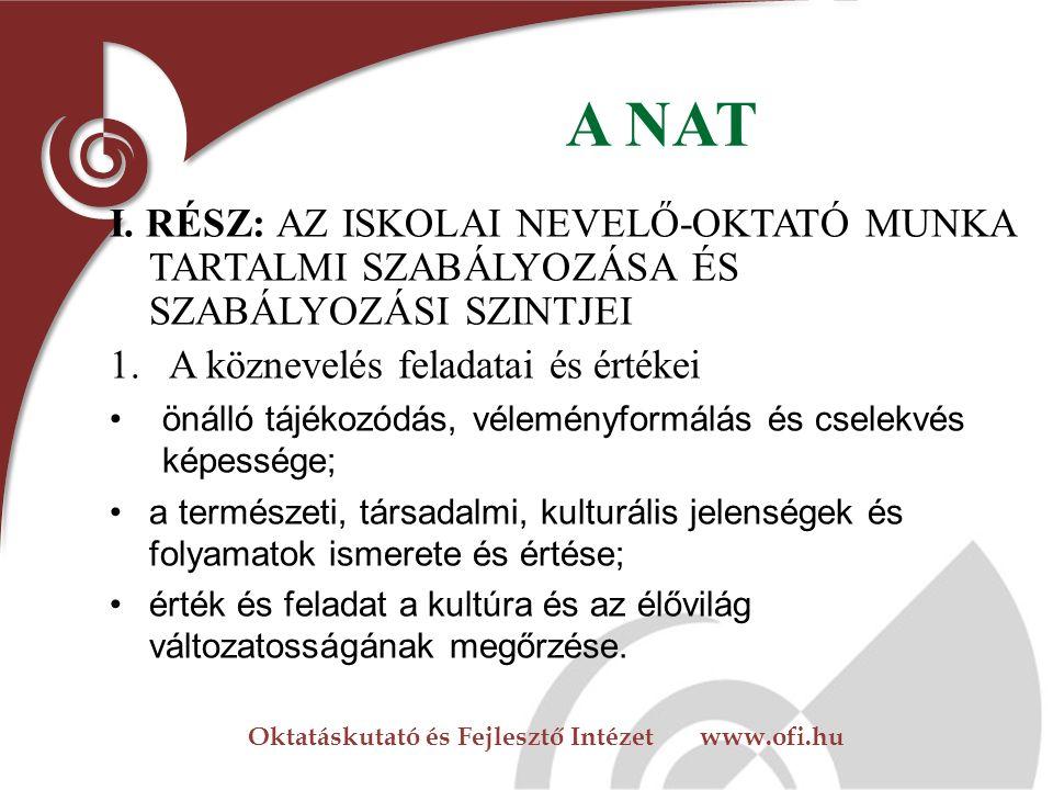 Oktatáskutató és Fejlesztő Intézet www.ofi.hu A NAT I.