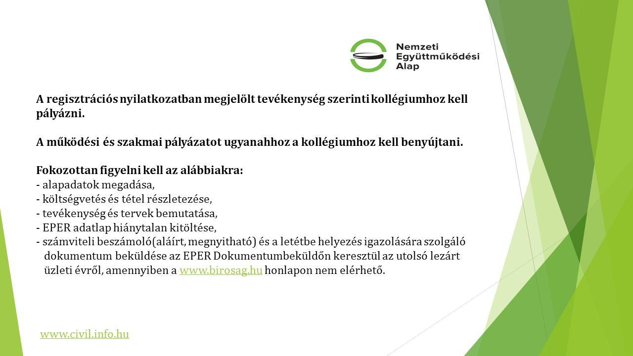 A regisztrációs nyilatkozatban megjelölt tevékenység szerinti kollégiumhoz kell pályázni.