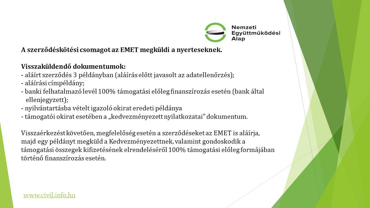 A szerződéskötési csomagot az EMET megküldi a nyerteseknek.