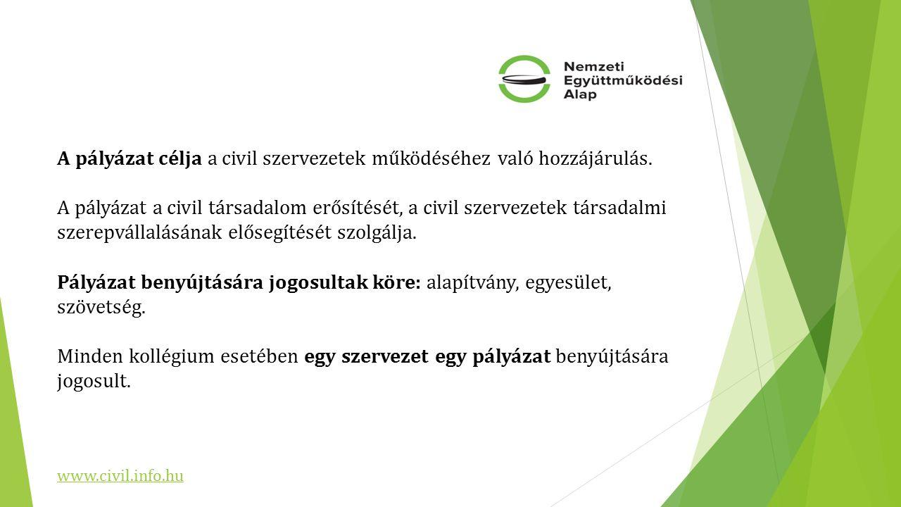 A pályázat célja a civil szervezetek működéséhez való hozzájárulás.