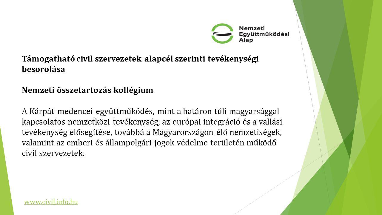 Támogatható civil szervezetek alapcél szerinti tevékenységi besorolása Nemzeti összetartozás kollégium A Kárpát-medencei együttműködés, mint a határon túli magyarsággal kapcsolatos nemzetközi tevékenység, az európai integráció és a vallási tevékenység elősegítése, továbbá a Magyarországon élő nemzetiségek, valamint az emberi és állampolgári jogok védelme területén működő civil szervezetek.