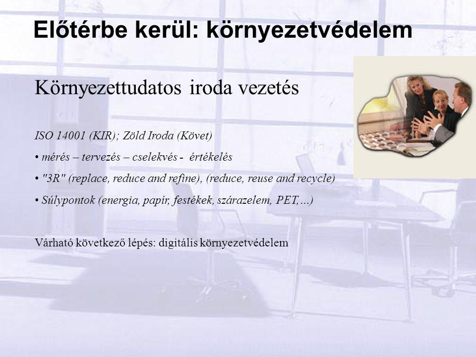 Környezettudatos iroda vezetés ISO 14001 (KIR); Zöld Iroda (Követ) mérés – tervezés – cselekvés - értékelés 3R (replace, reduce and refine), (reduce, reuse and recycle) Súlypontok (energia, papír, festékek, szárazelem, PET,…) Várható következő lépés: digitális környezetvédelem Előtérbe kerül: környezetvédelem