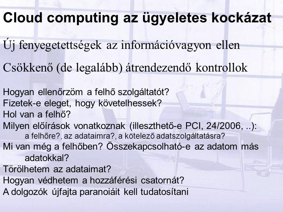 Új fenyegetettségek az információvagyon ellen Csökkenő (de legalább) átrendezendő kontrollok Hogyan ellenőrzöm a felhő szolgáltatót.