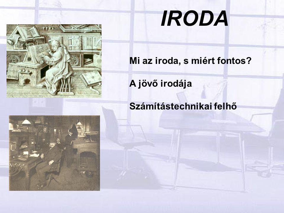 IRODA Mi az iroda, s miért fontos A jövő irodája Számítástechnikai felhő