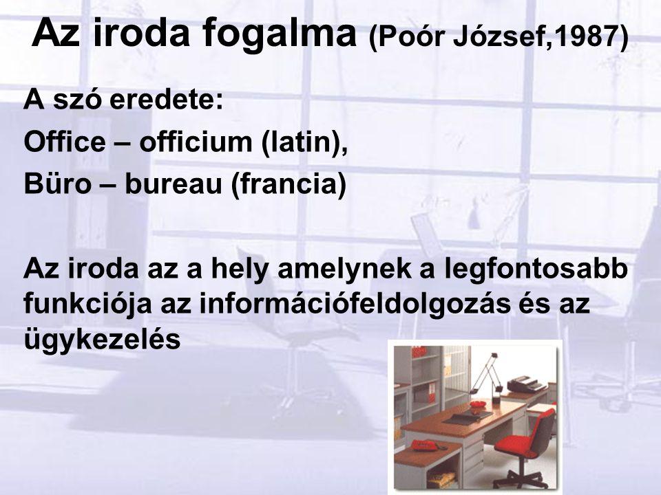 Az iroda fogalma (Poór József,1987) A szó eredete: Office – officium (latin), Büro – bureau (francia) Az iroda az a hely amelynek a legfontosabb funkciója az információfeldolgozás és az ügykezelés