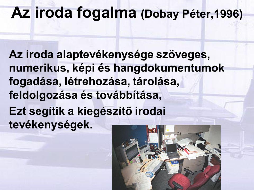 Az iroda fogalma (Dobay Péter,1996) Az iroda alaptevékenysége szöveges, numerikus, képi és hangdokumentumok fogadása, létrehozása, tárolása, feldolgozása és továbbítása, Ezt segítik a kiegészítő irodai tevékenységek.