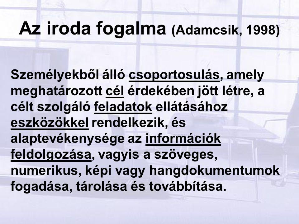 Az iroda fogalma (Adamcsik, 1998) Személyekből álló csoportosulás, amely meghatározott cél érdekében jött létre, a célt szolgáló feladatok ellátásához eszközökkel rendelkezik, és alaptevékenysége az információk feldolgozása, vagyis a szöveges, numerikus, képi vagy hangdokumentumok fogadása, tárolása és továbbítása.