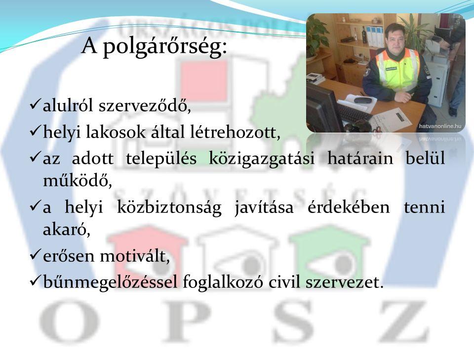 A polgárőrség: alulról szerveződő, helyi lakosok által létrehozott, az adott település közigazgatási határain belül működő, a helyi közbiztonság javítása érdekében tenni akaró, erősen motivált, bűnmegelőzéssel foglalkozó civil szervezet.