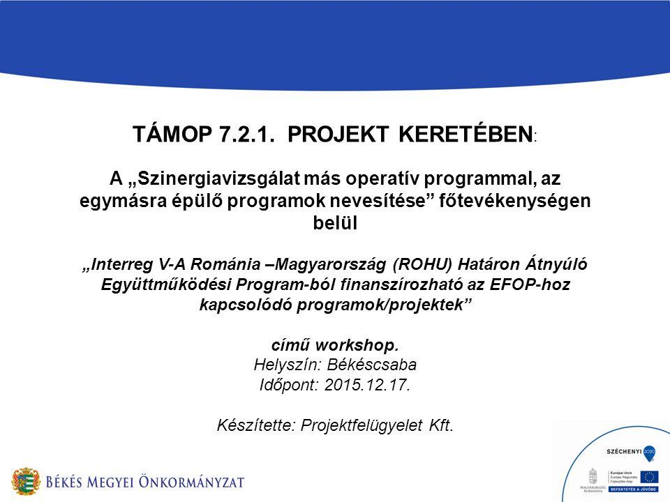 """TÁMOP 7.2.1. PROJEKT KERETÉBEN : A """"Szinergiavizsgálat más operatív programmal, az egymásra épülő programok nevesítése"""" főtevékenységen belül """"Interre"""