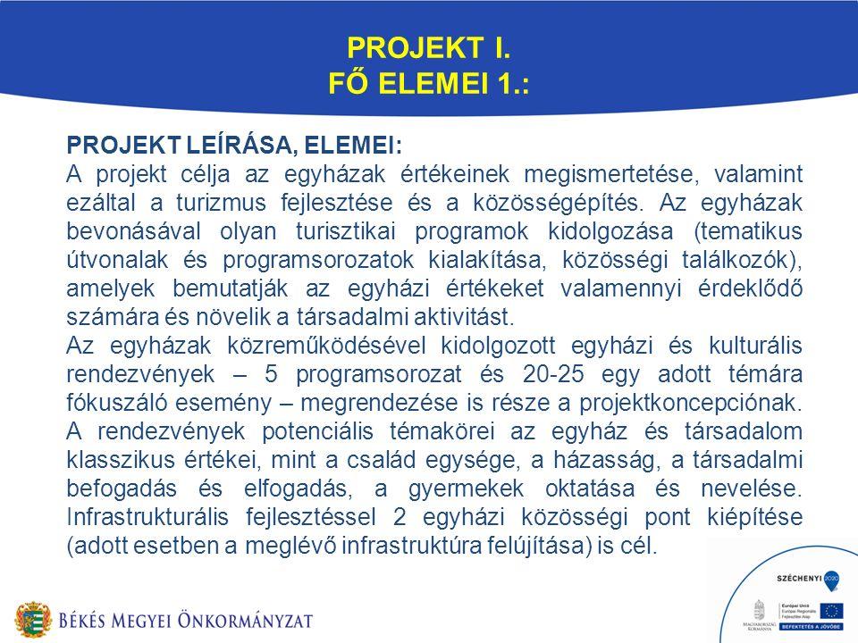 PROJEKT I. FŐ ELEMEI 1.: PROJEKT LEÍRÁSA, ELEMEI: A projekt célja az egyházak értékeinek megismertetése, valamint ezáltal a turizmus fejlesztése és a