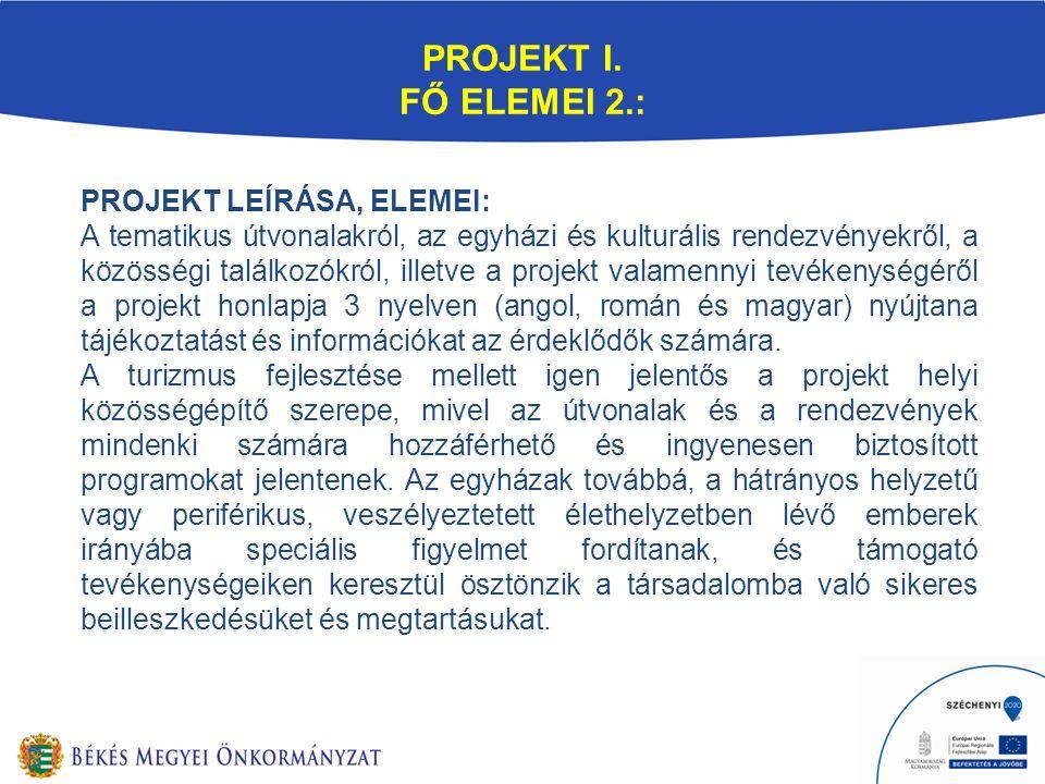 PROJEKT I. FŐ ELEMEI 2.: PROJEKT LEÍRÁSA, ELEMEI: A tematikus útvonalakról, az egyházi és kulturális rendezvényekről, a közösségi találkozókról, illet