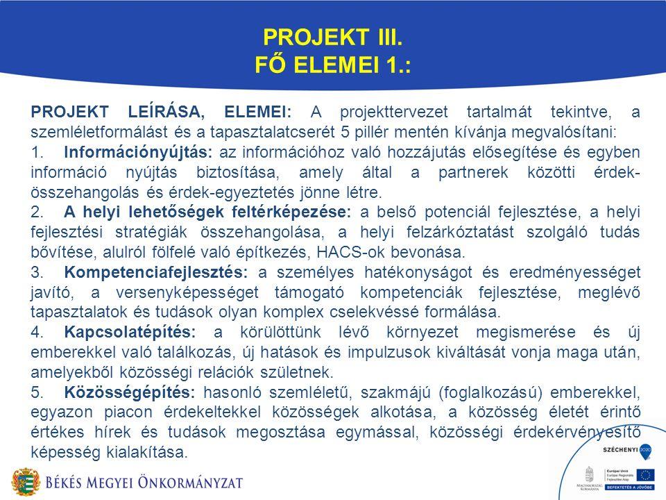 PROJEKT III. FŐ ELEMEI 1.: PROJEKT LEÍRÁSA, ELEMEI: A projekttervezet tartalmát tekintve, a szemléletformálást és a tapasztalatcserét 5 pillér mentén